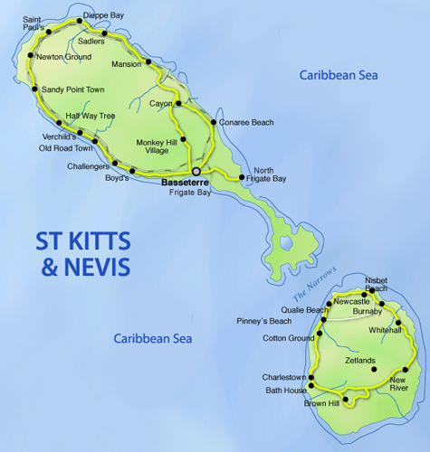 Map of St Kitts and Nevis in the Caribbean