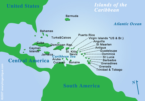 Map Of St Kitts And Nevis In The Caribbean - Us-caribbean-islands-map